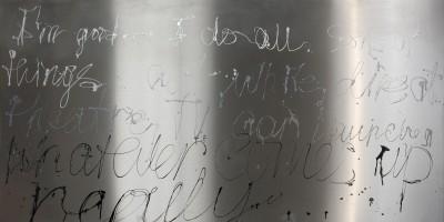 """I am good"" – 2009 «У меня всё хорошо» - ""Mir geht´s gut"" - Лак для ногтей на нержавеющей стали - Nagellack auf Edelstahl - Nail polish on stainless steel – 100 х 200cm"
